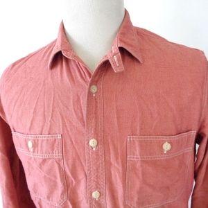 J Crew Medium Chambray Shirt Solid Red Pink